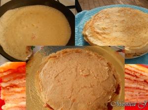 Tort de clatite cu gem si mascarpone, asamblare